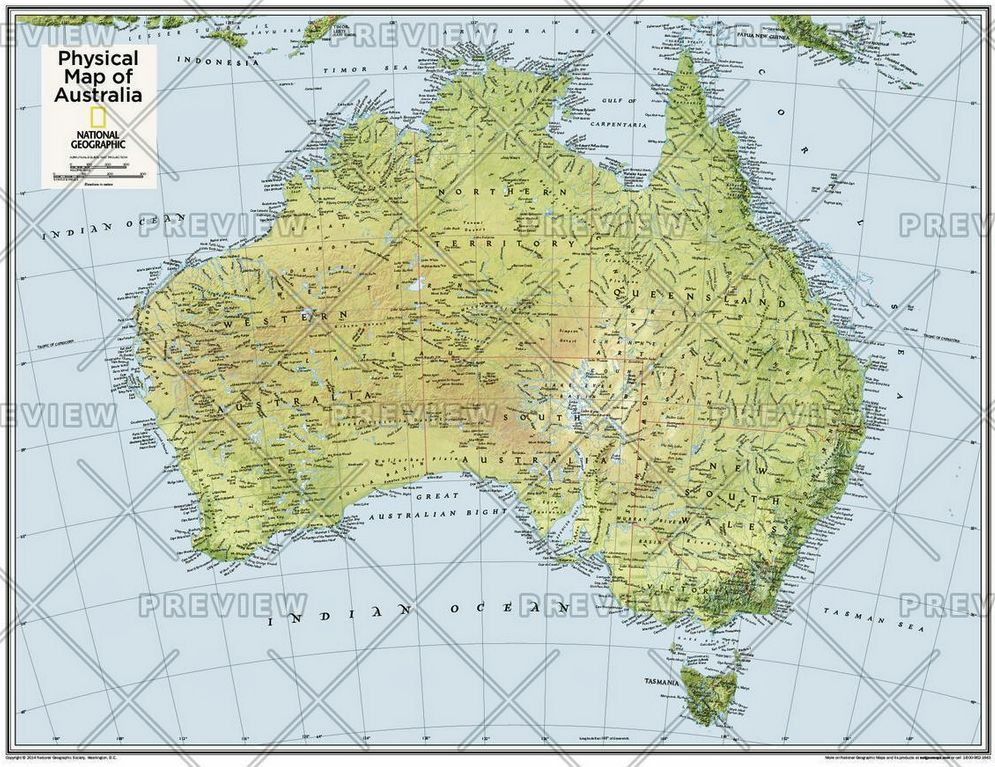 Australia Physical Atlas Of The World Th Edition By - Physical map of australia