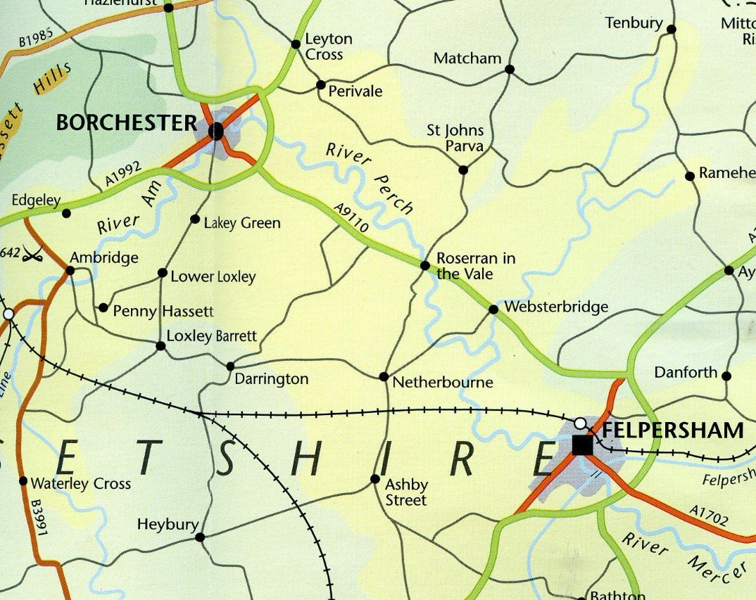 Fictional Map of Ambridge Borchester District The Archers BBC Radio 4