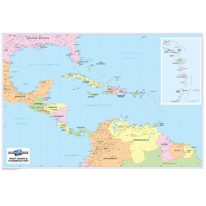 1. Caribbean Wall Map Laminated