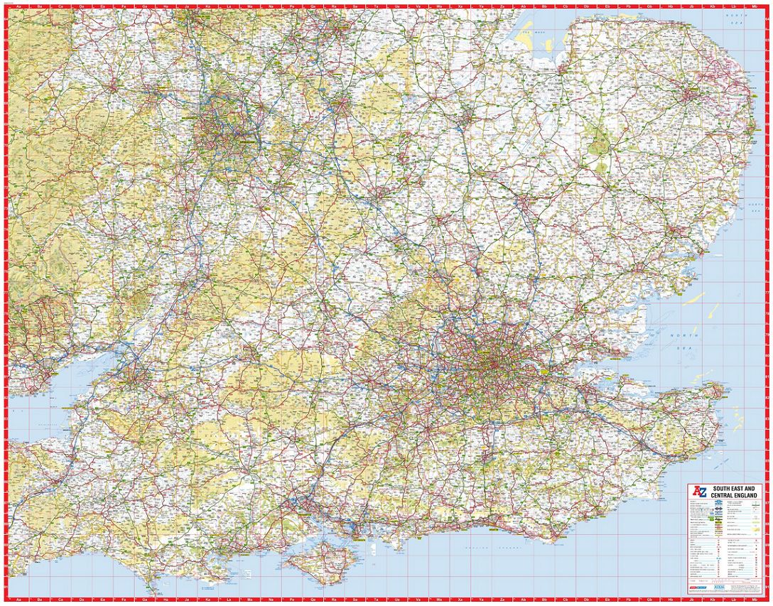 A Z Map Of England.A Z South East And Central England Road Map