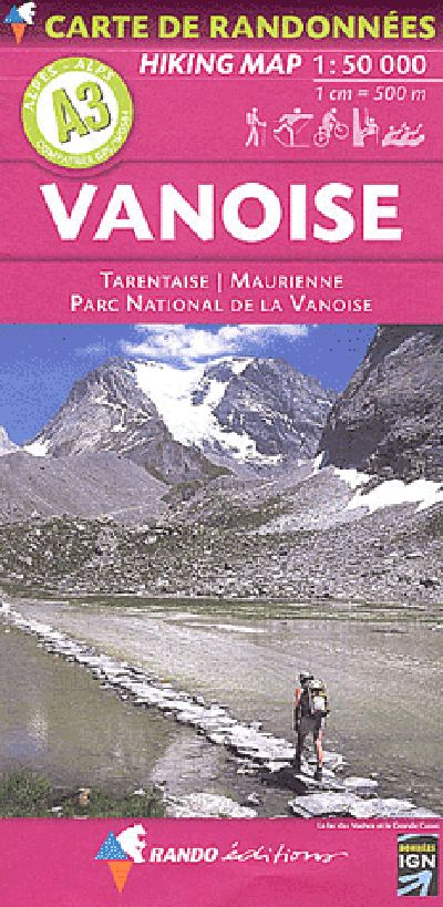 A3 Rando Editions Vanoise - Tarentaise - Maurienne Hiking Map 1:50,000