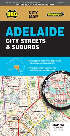 adelaide city and surrounding street map ubd