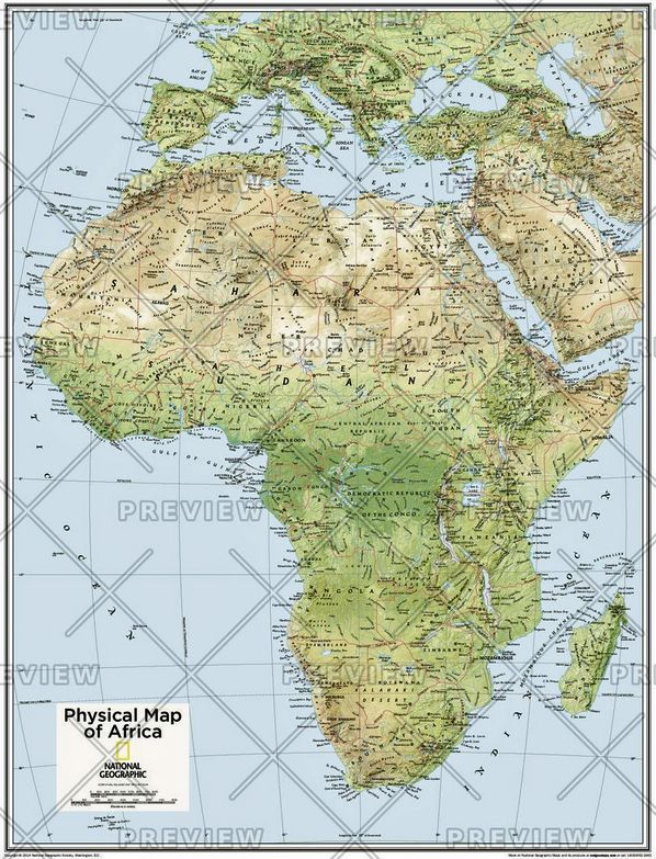 Africa Physical - Atlas of the World, 10th Edition by National Geographic 2015