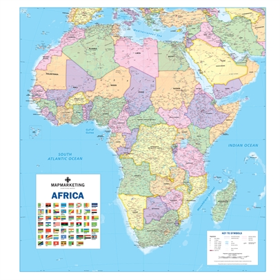 Africa Wall Map Laminated Wall Map