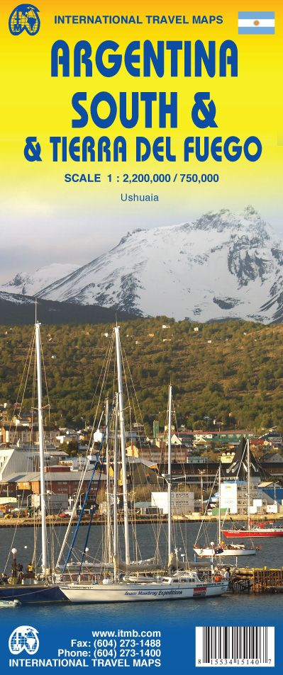 Argentina South & Tierra Del Fuego Travel Reference Map