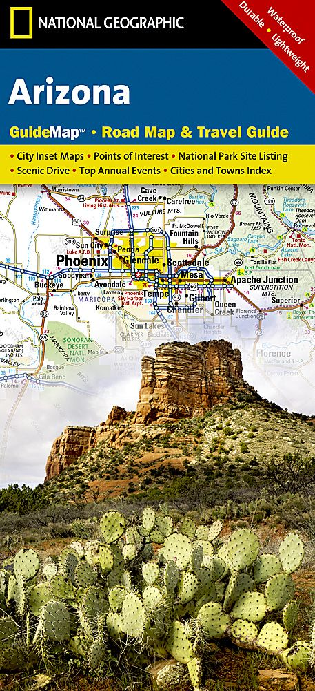 Arizona Points Of Interest Map.Arizona Road Map Travel Guide Gm04