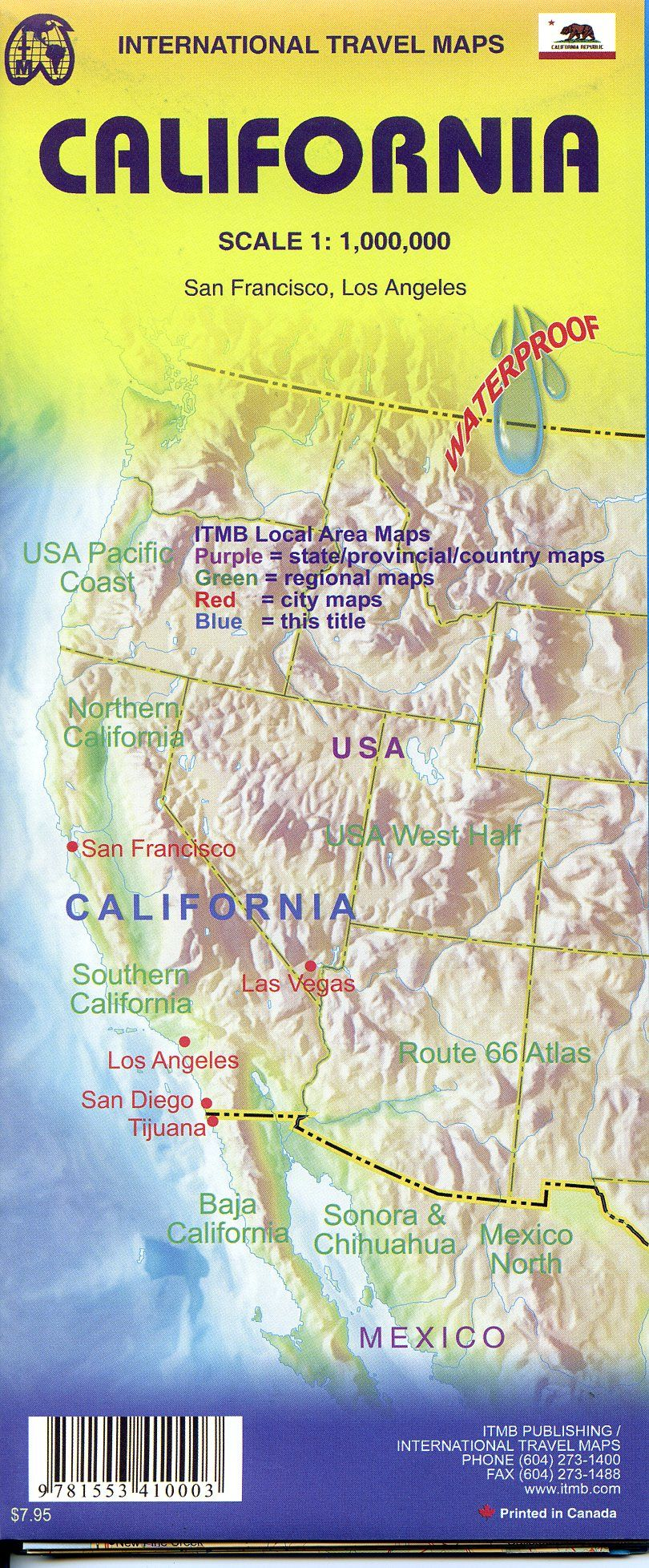 California Travel Reference Map Folded
