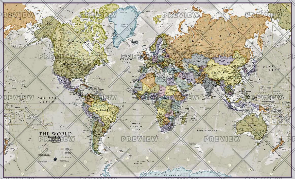 Classic World Map by Maps International