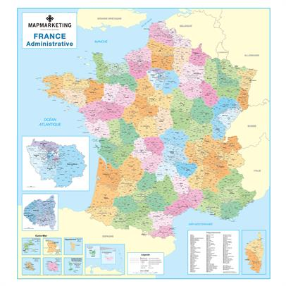 France Administritive Wall Map