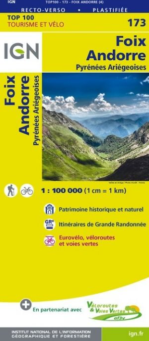IGN 173 - Foix, Andorre, Andorra Pyrenees Ariegeoises