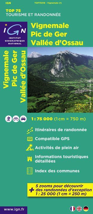 IGN Top 75 - 018 Vignemale / Pic de Ger / Vallee d'Ossau at 1:75,000