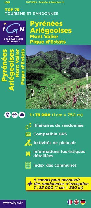 IGN Top 75 - 020 Pyrenees Ariegeoises / Mont Valier / Picque d'Estats at 1:75,000