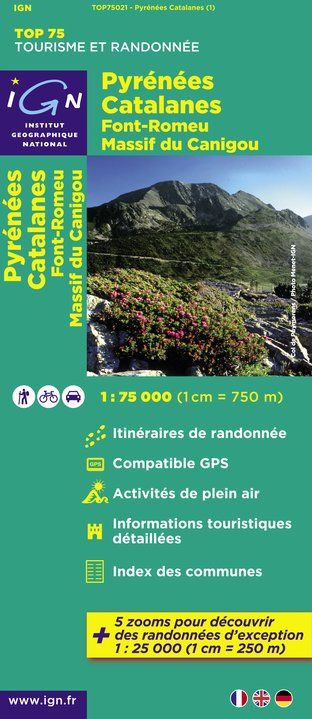 IGN Top 75 - 021 Pyrenees Catalanes / Font Romeu / Massif du Canigou at 1:75,000