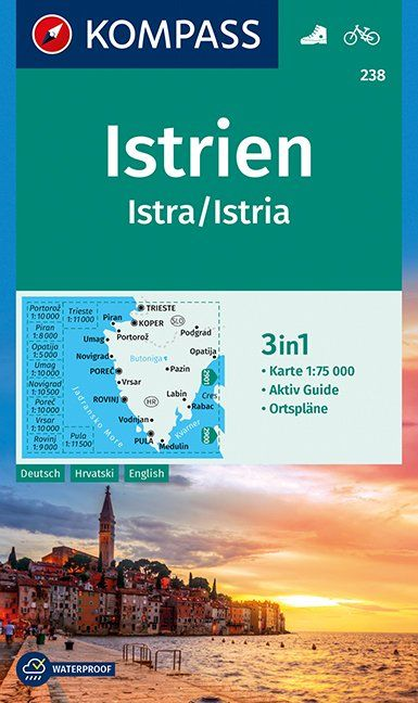 Istria, Croatia - Kompass Map 1:75,000 - 238