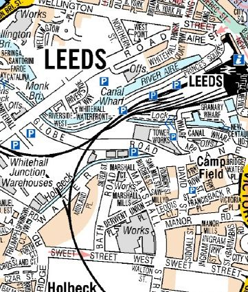 Leeds A Z Wall Map