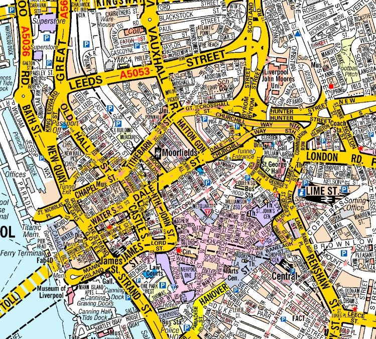 Liverpool A Z Wall Map on