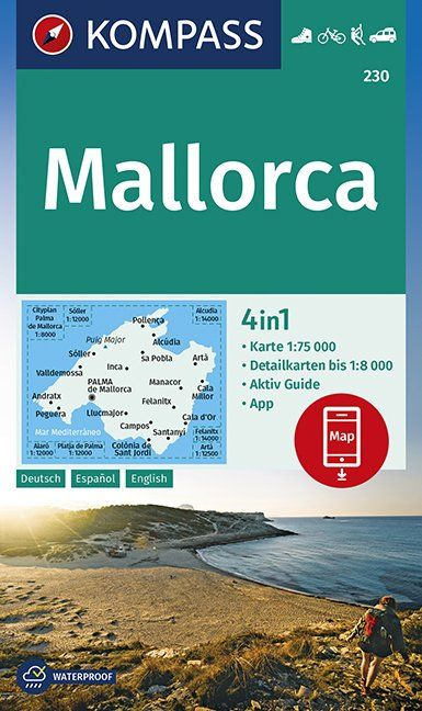 Mallorca Majorca - Kompass Map 1:75,000 - incl. English Guide