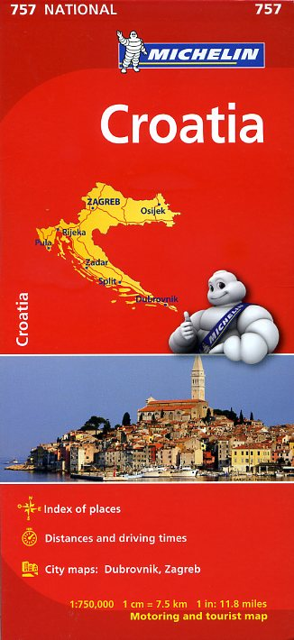 Michelin Croatia - Map 757 - 1:750,000