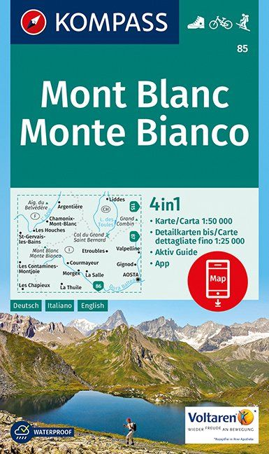Mont Blanc - Kompass Map 85 at 1:50,000