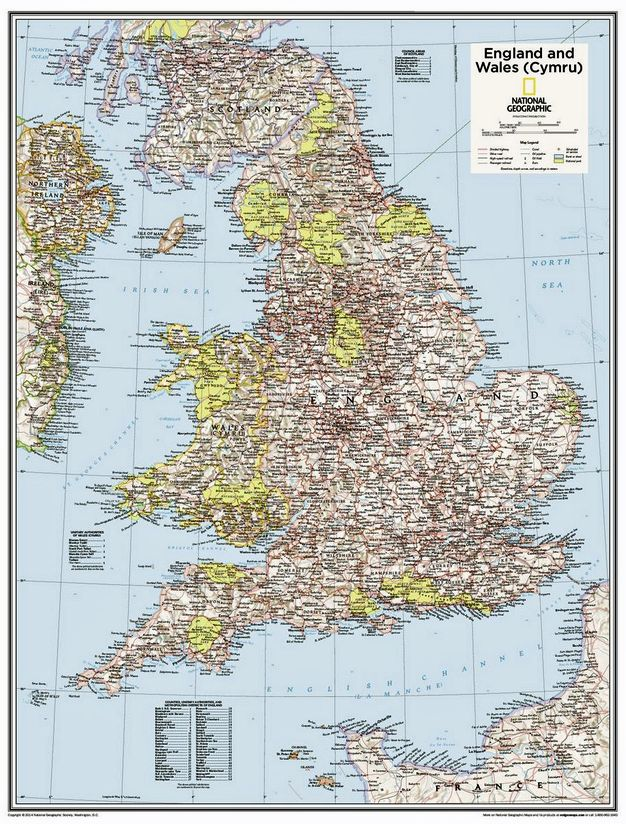 National Geographic Wall Map of England & Wales (Cymru) - Pub 2015