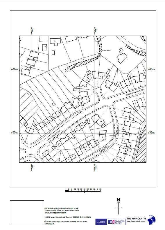 Ordnance Survey 1:1250 Plot - Urban - By Post