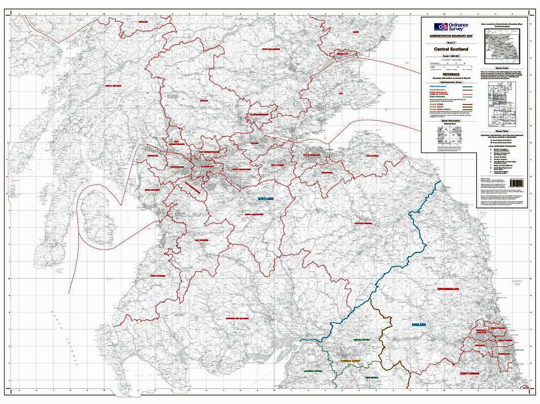 Os administrative boundary map local government sheet 4 southern os administrative boundary map local government sheet 4 southern scotland and northumberland sciox Image collections
