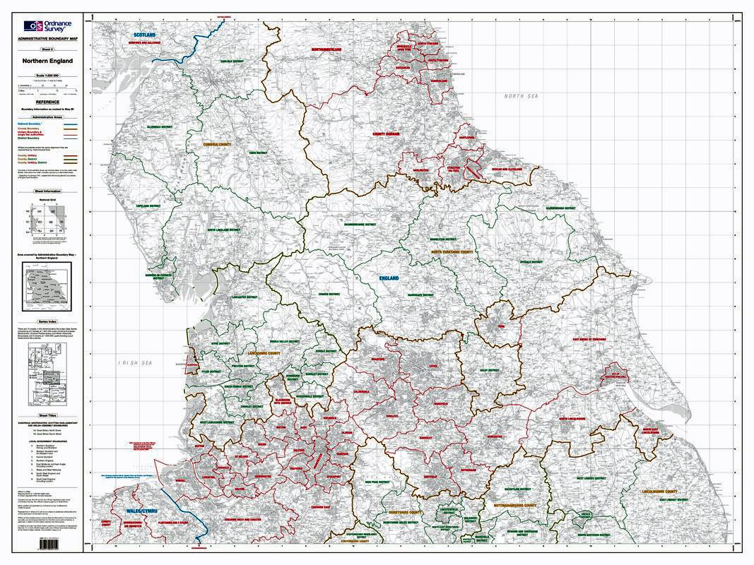 North Of England Map.Os Administrative Boundary Map Local Government Sheet 5 Northern