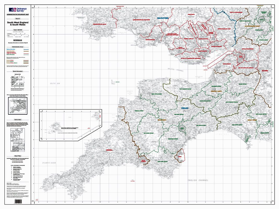 South Of England Map.Os Administrative Boundary Map Local Government Sheet 8 South