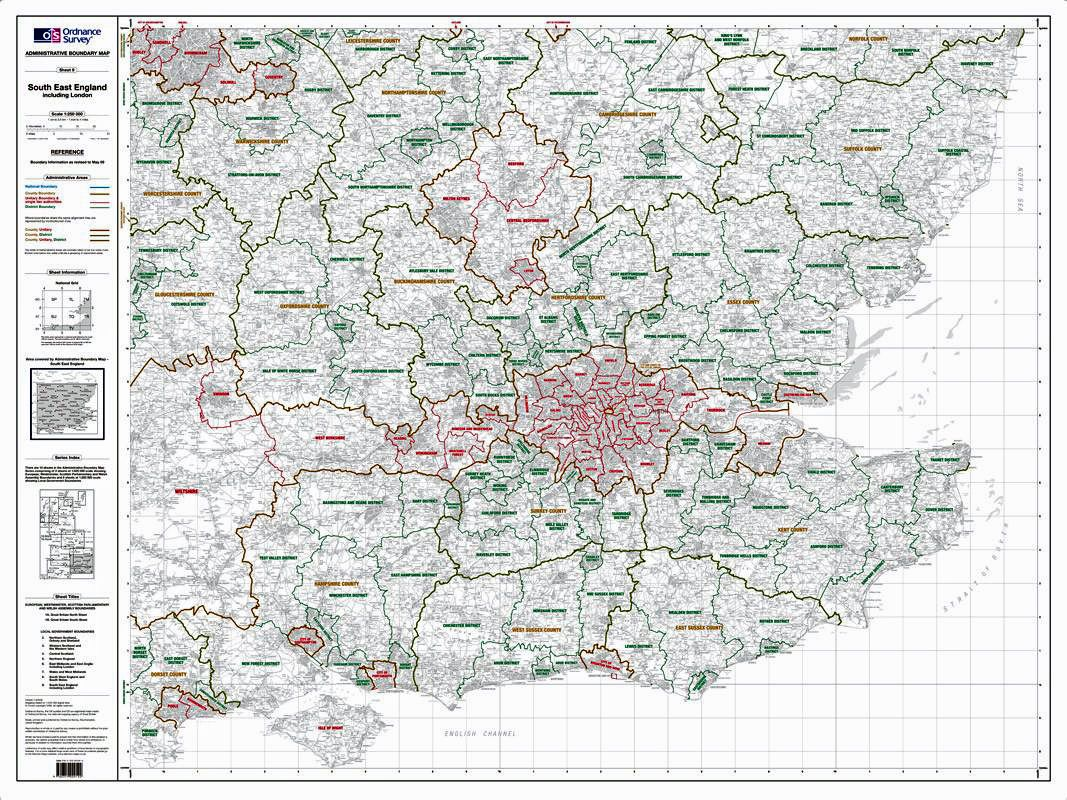 Map Of East Uk.Os Administrative Boundary Map Local Government Sheet 9 South