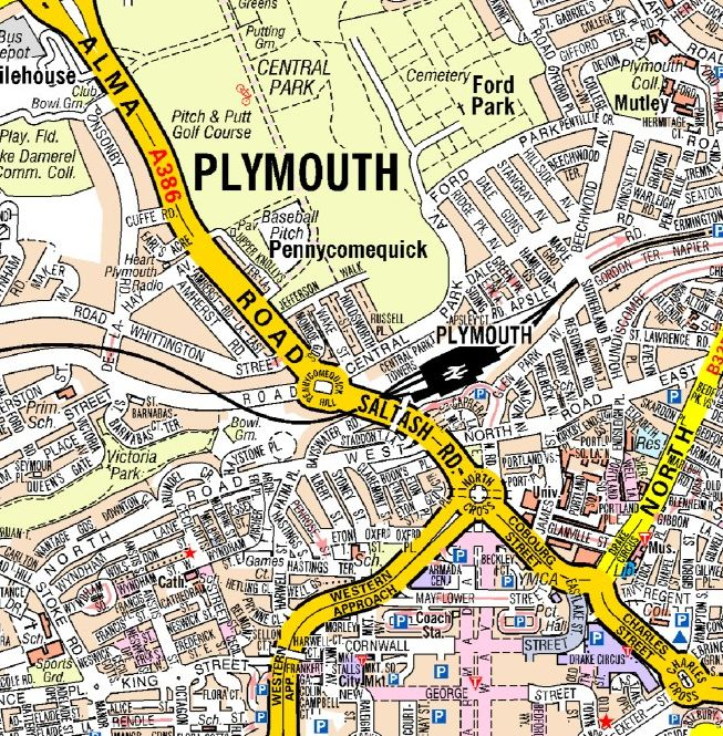 Plymouth A Z Wall Map