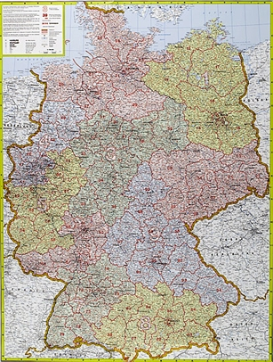 Postcode Map Of Germany - Laminated
