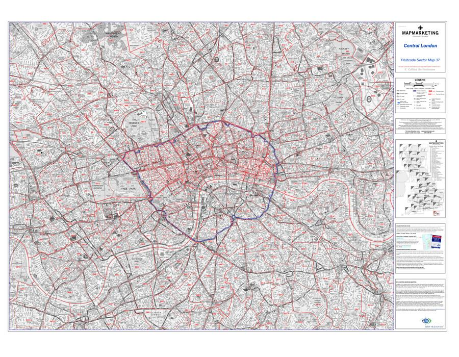 London Map Central.Postcode Sector Map 37 Central London