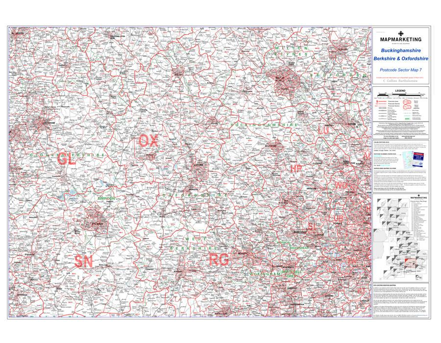 Postcode Sector Map 7 Berkshire Buckinghamshire And