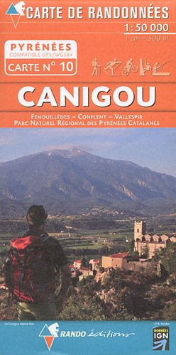 Rando Editions 1:50,000 Walking Map Of the Pyrenees Map 10 - Canigou - Vallespir - Fenouilledes