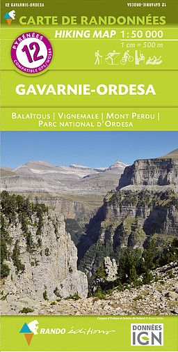 Rando Editions 1:50,000 Walking Map Of the Pyrenees  Number 12 Gavarnie - Ordesa