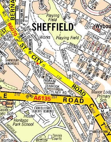 Sheffield A Z Wall Map