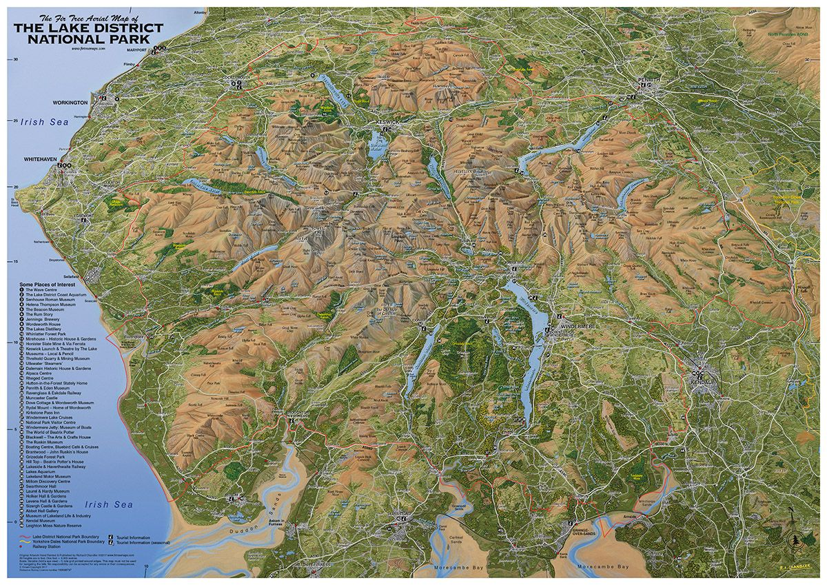 Map Of The Lake District The Lake District National Park   Flat Map Of The Lake District