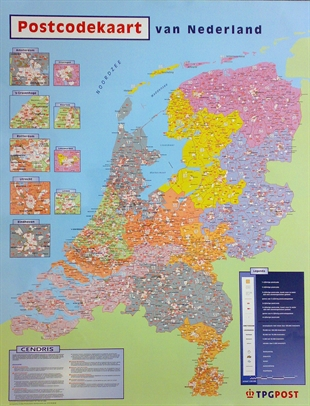 The Netherlands Postcode Wall Map