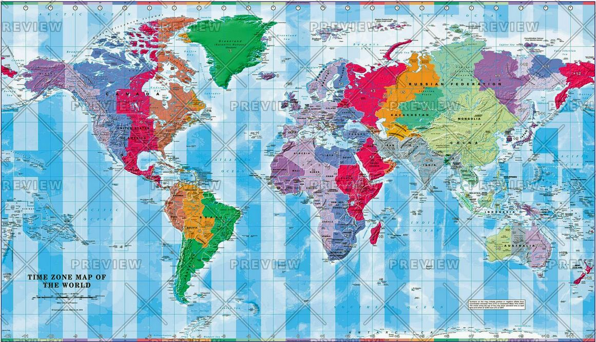 Time Zone Map of the World - Large by Cosmographics