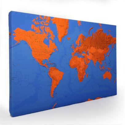 Two Colour Canvas World Map