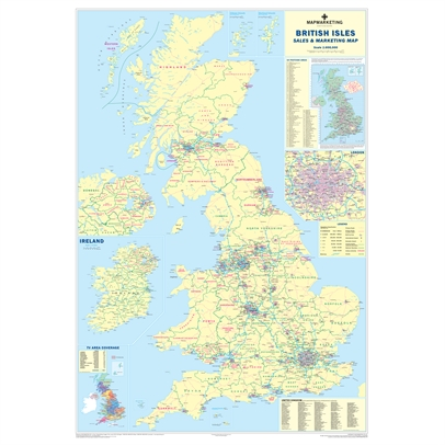 UK Sales & Marketing Wall Map - Supersize