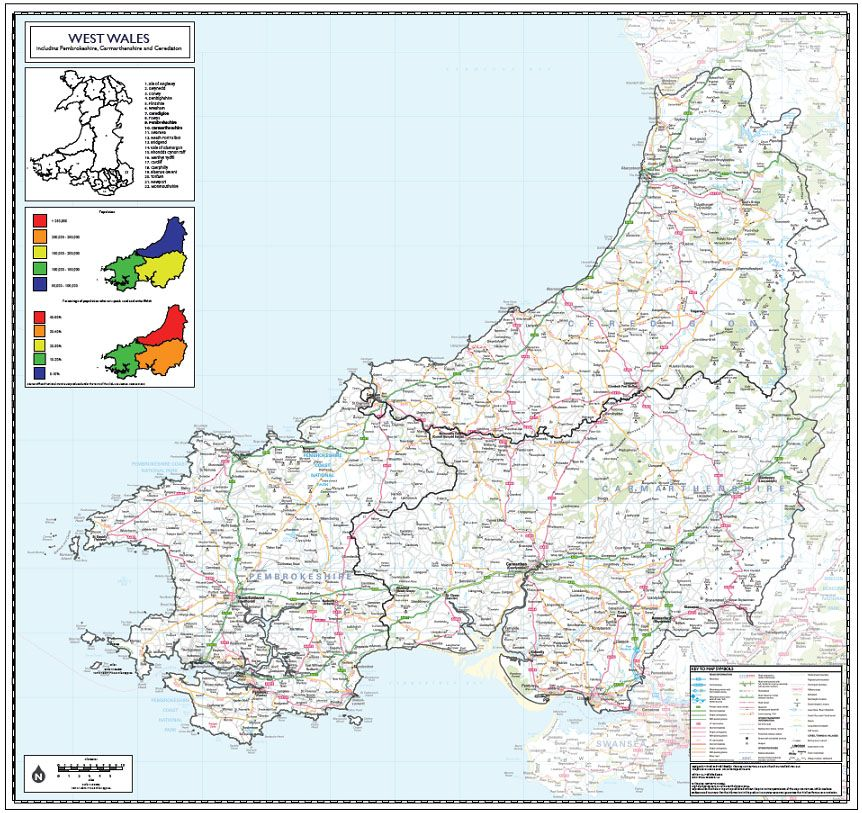 Map Of West Wales West Wales County Planning Wall Map