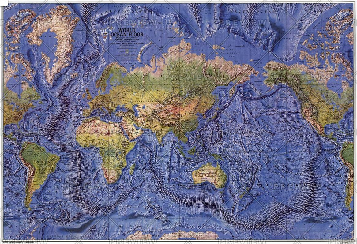 Geographic Map Of World.World Ocean Floor Published 1981 By National Geographic